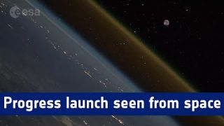 Progress launch timelapse seen from space